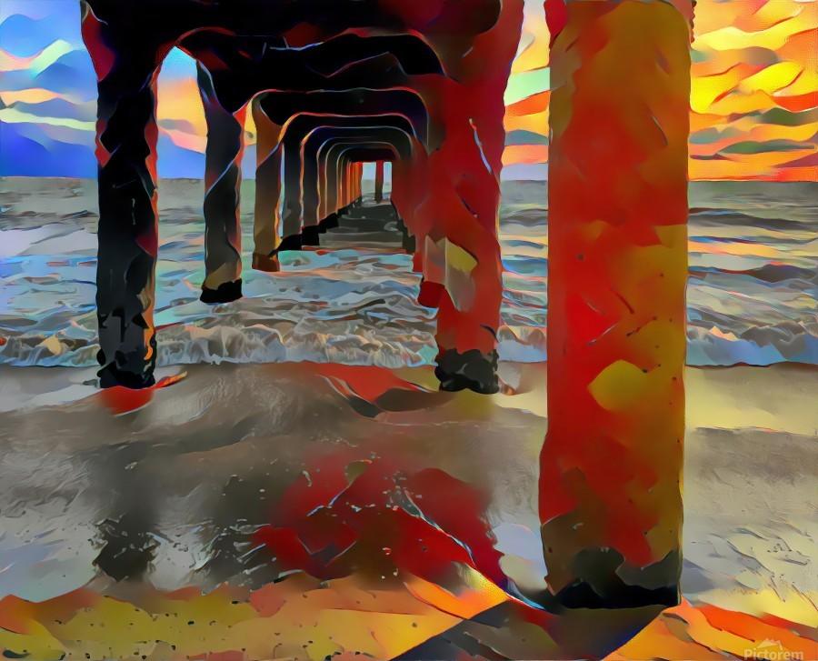 Hermosa beach pier  Print