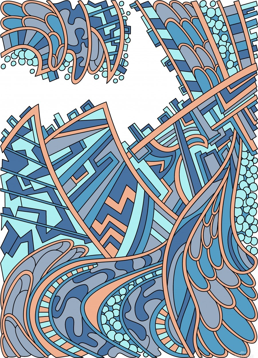 Wandering Abstract Line Art 01: Blue  Print