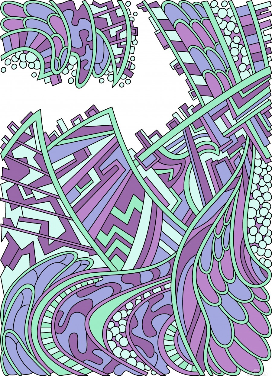 Wandering Abstract Line Art 01: Purple  Print