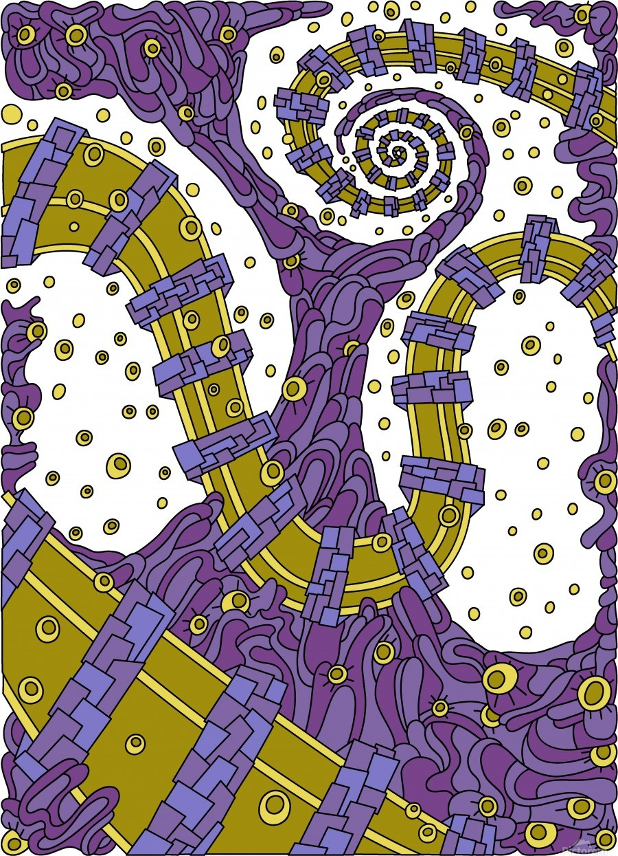 Wandering Abstract Line Art 02: Purple  Print