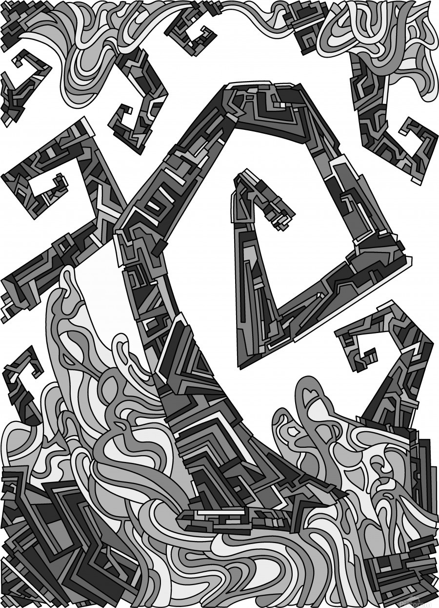Wandering Abstract Line Art 08: Grayscale  Print