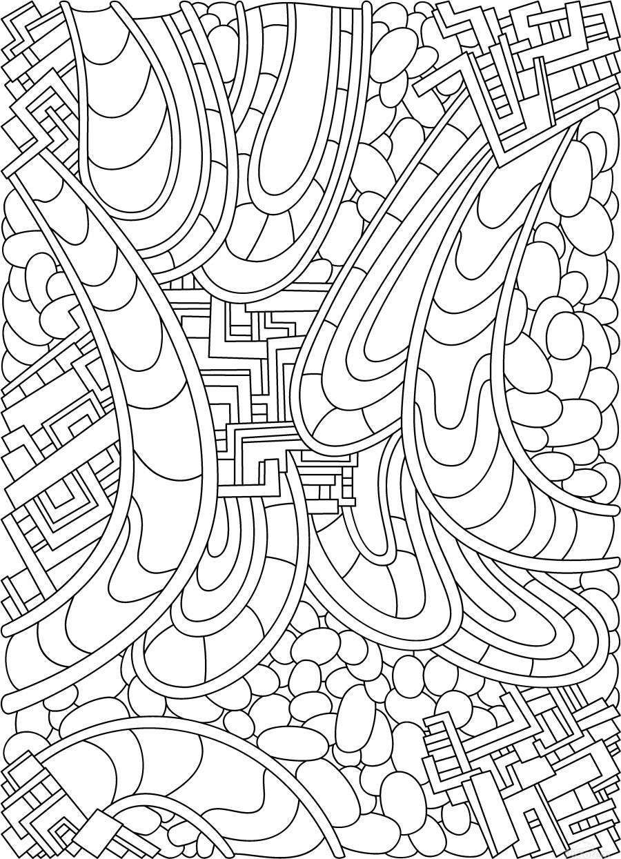 Wandering Abstract Line Art 09: Black & White  Print