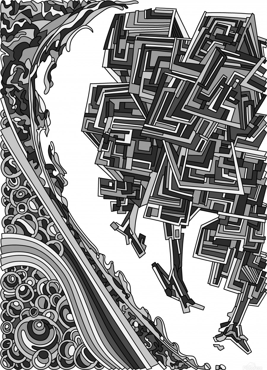 Wandering Abstract Line Art 12: Grayscale  Print