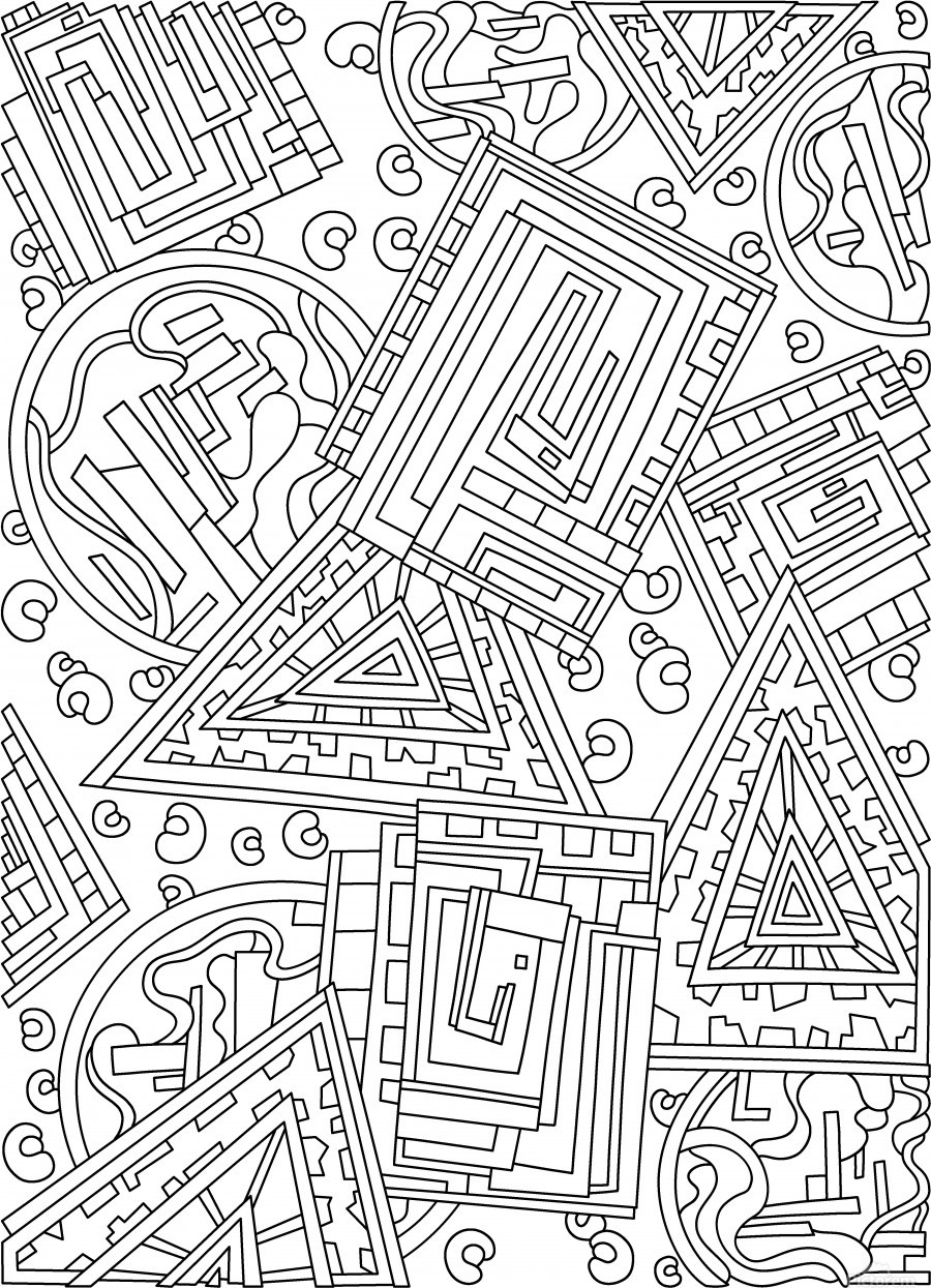 Wandering Abstract Line Art 15: Black & White  Print