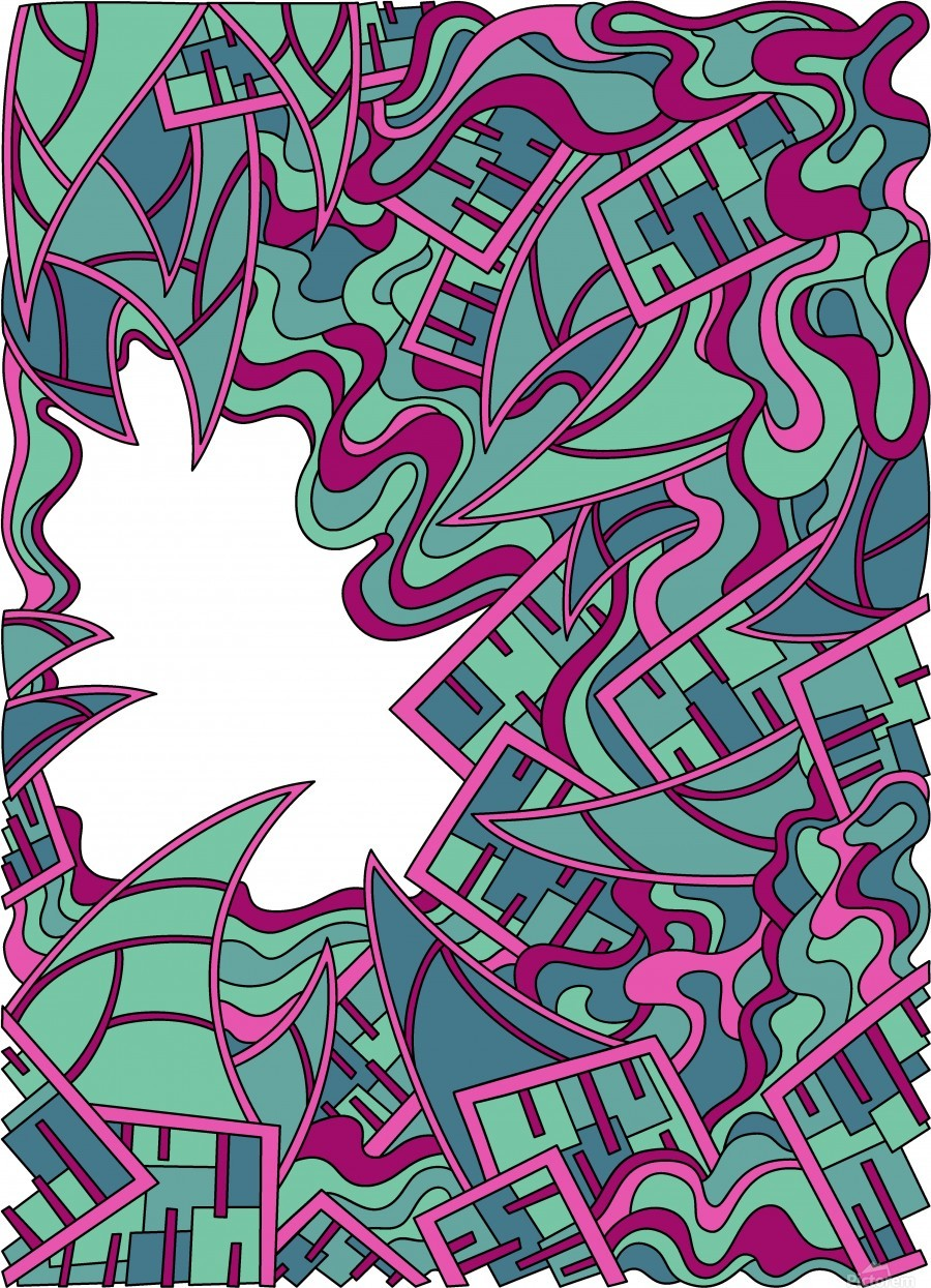 Wandering Abstract Line Art 25: Magenta  Print