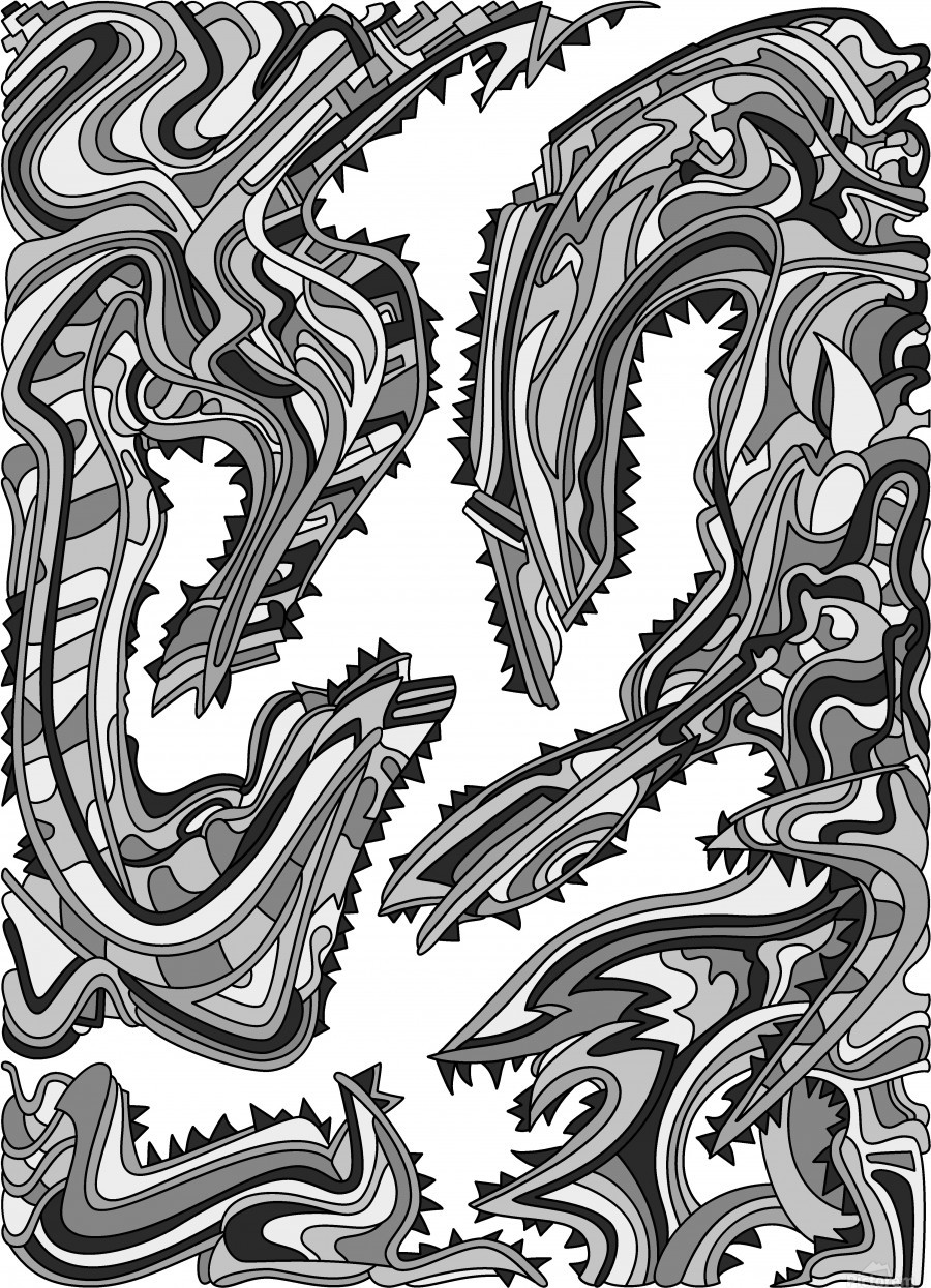 Wandering Abstract Line Art 26: Grayscale  Print