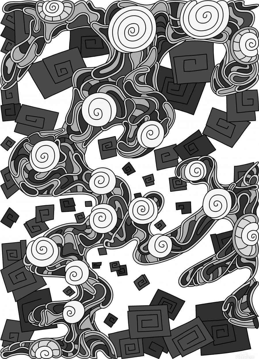 Wandering Abstract Line Art 29: Grayscale  Print