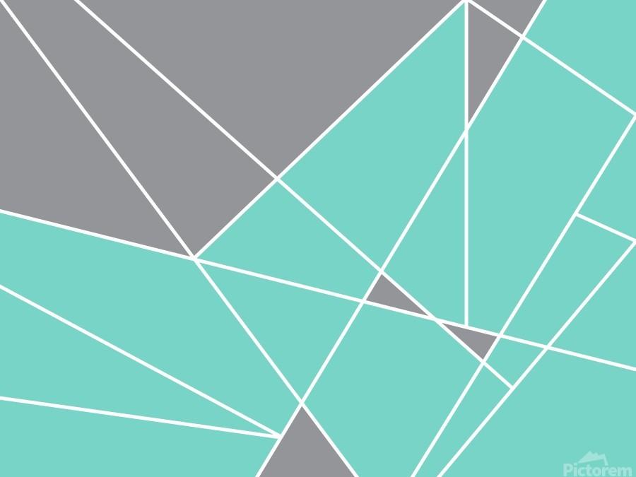 Gray Teal Triangles Geometric Art GAT101-3  Print