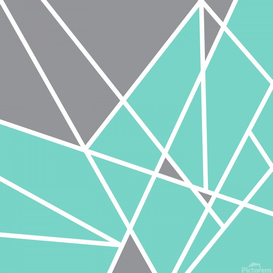 Gray Teal Triangles Geometric Art GAT101 square  Print