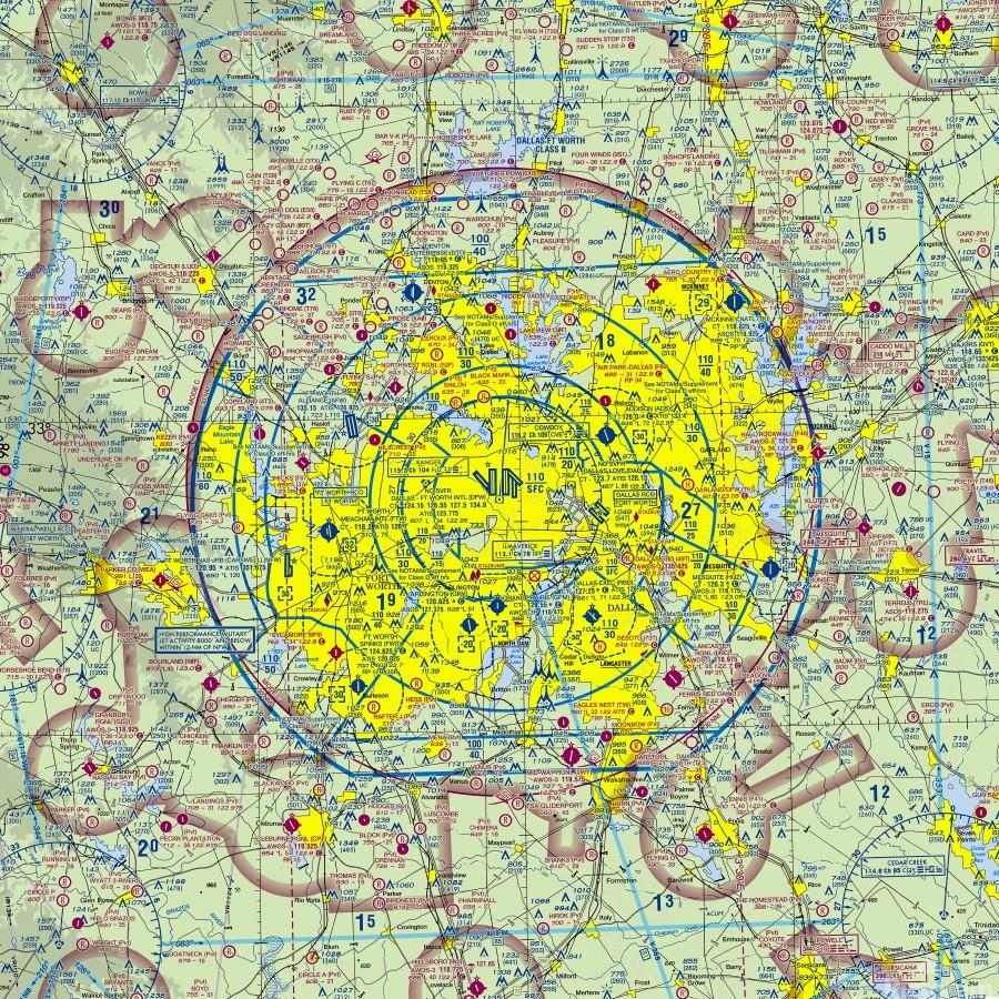 Dallas TX Aeronautical Wall Art  Print