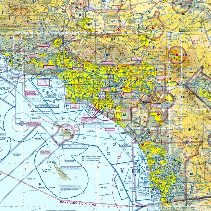 LA & San Diego Aeronautical Wall Art  Print