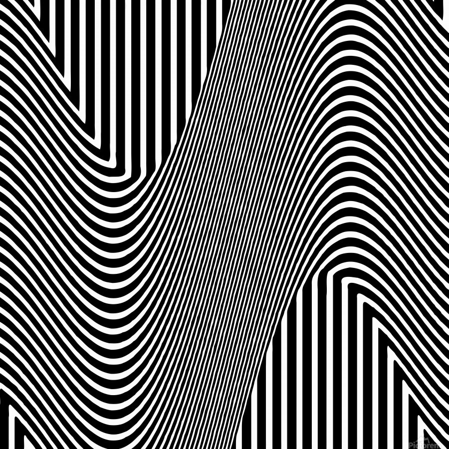 Black and White Abstract Geometric Design 1  Print