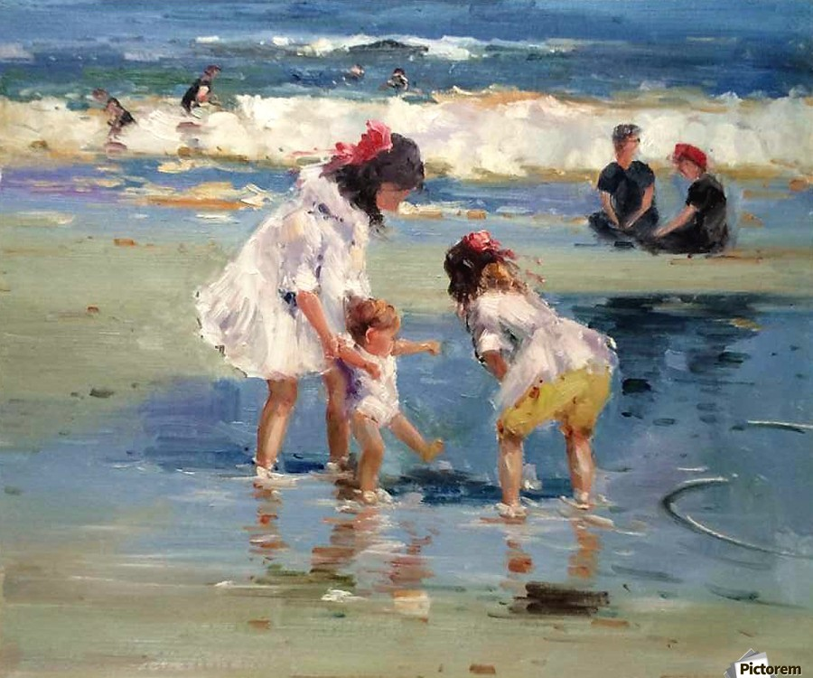 Girls playing in the water  Print