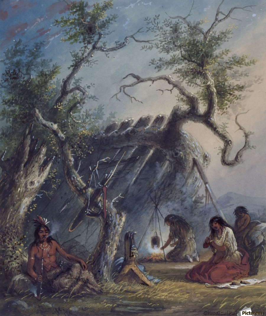 Indian Lodge with figures  Print