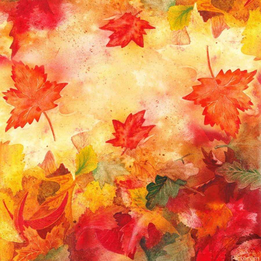 Welcome Fall Red Green Yellow Birch Oak Maple Watercolor Leaves  Print