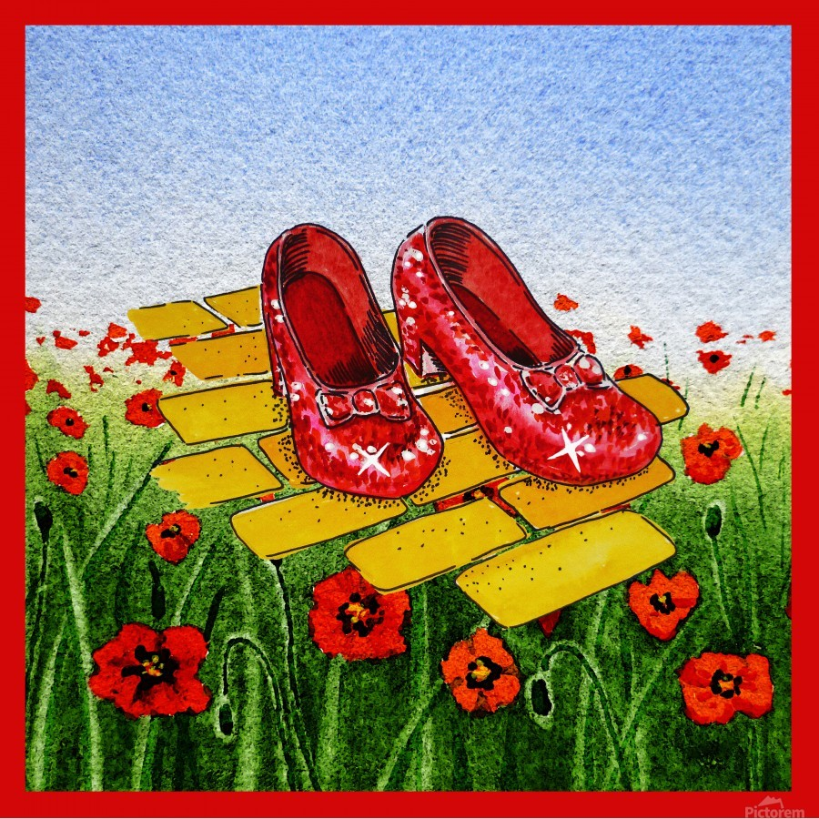 Ruby Slippers Yellow Brick Road Red Poppies Field  Print