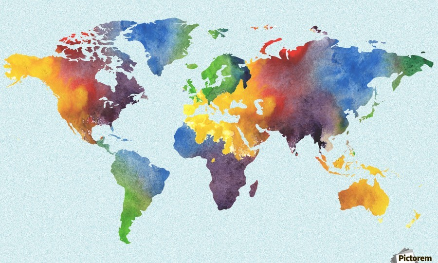 Bright Watercolor Map Of The World  Print