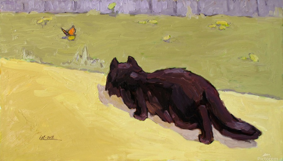 Cat and Butterfly  Print