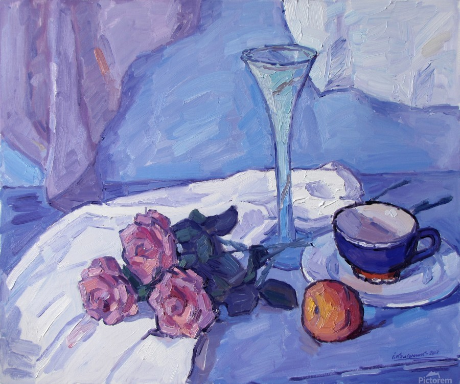 Still Life with Purple Roses  Print