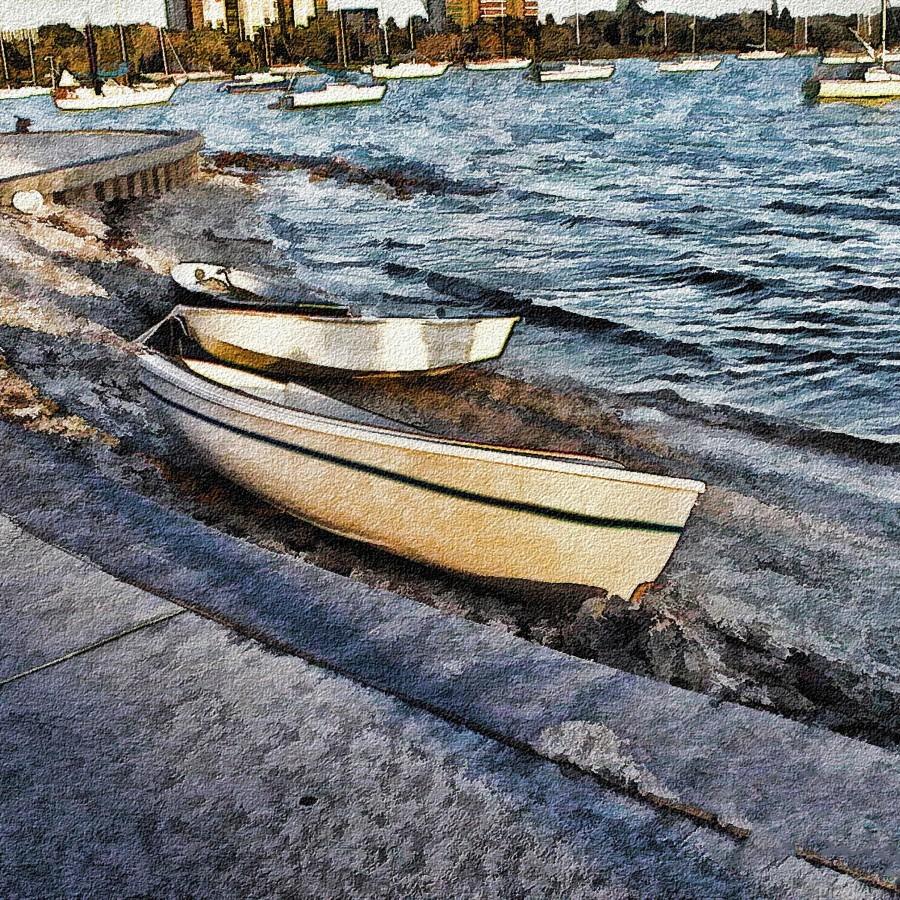Boats At The Bay  Print