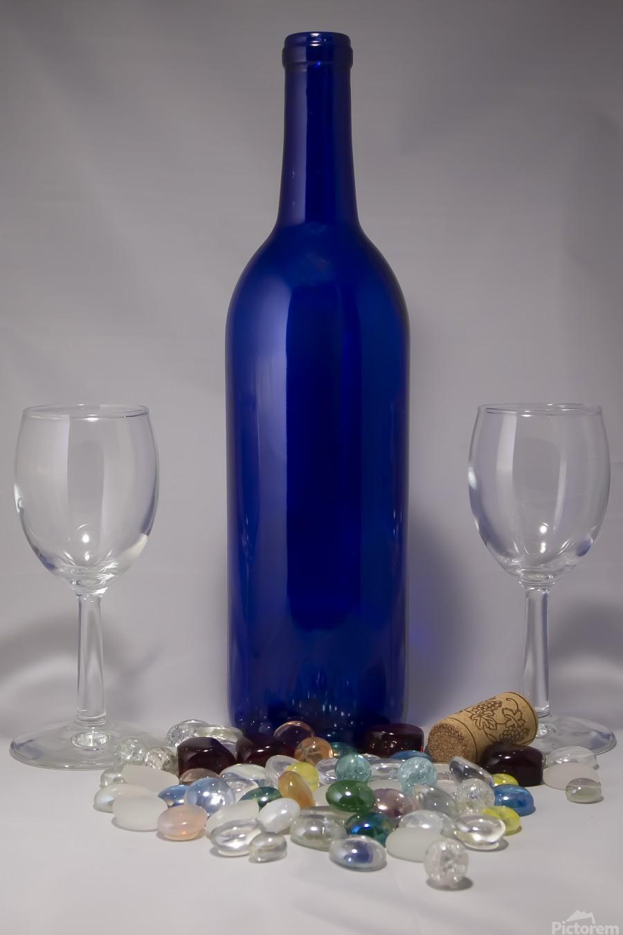 Blue Wine Bottle  Print