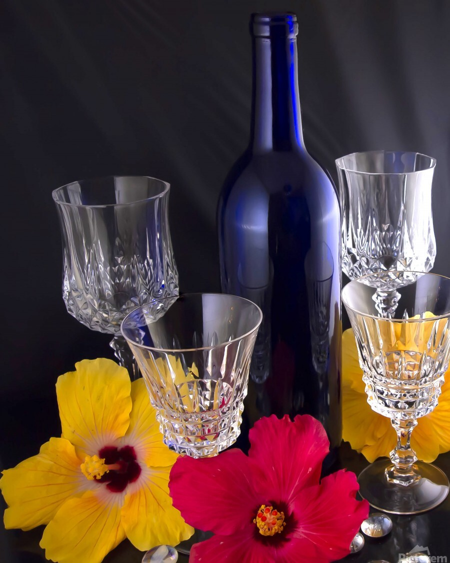 Blue Wine Bottle With Crystal and Tropical Flowers  Print
