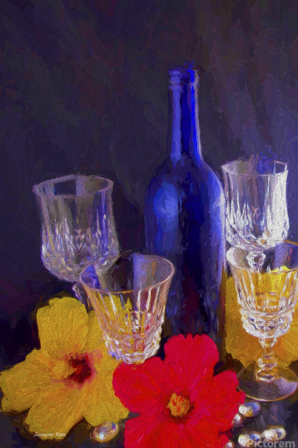 Painterly Blue Wine Bottle with four Crystal and Tropical Flowers  Print