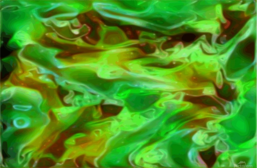 Emerald Field - green brown gold abstract swirls  Print