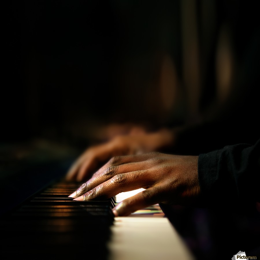 Hands playing piano close-up  Print