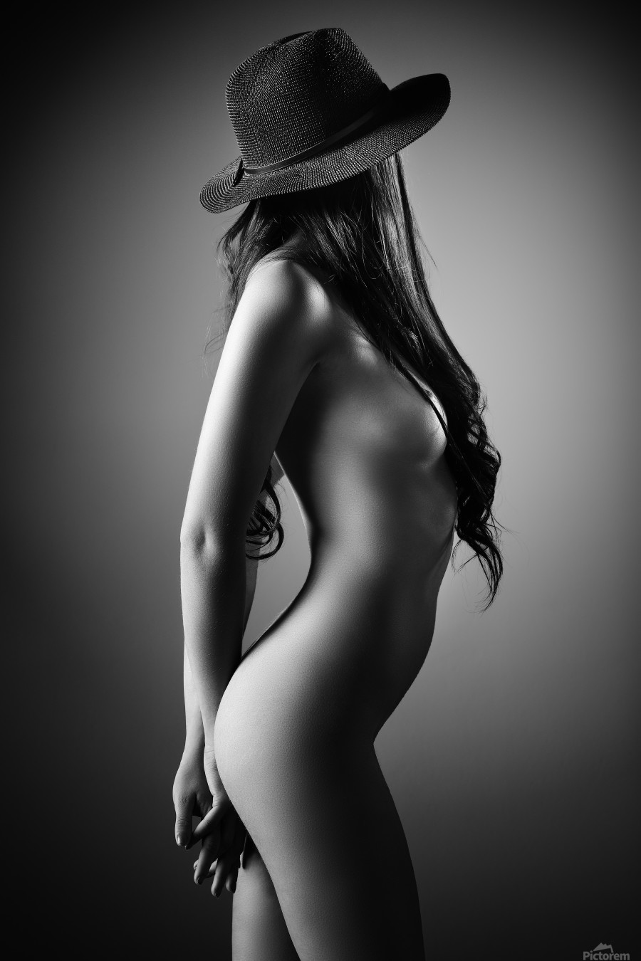 Nude woman with a hat  Print