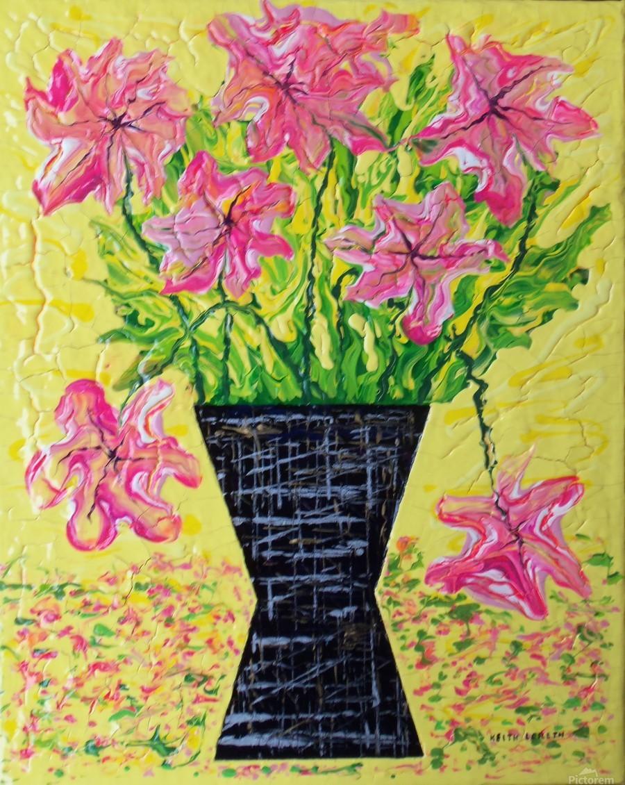 Pink Flowers in vase   Print