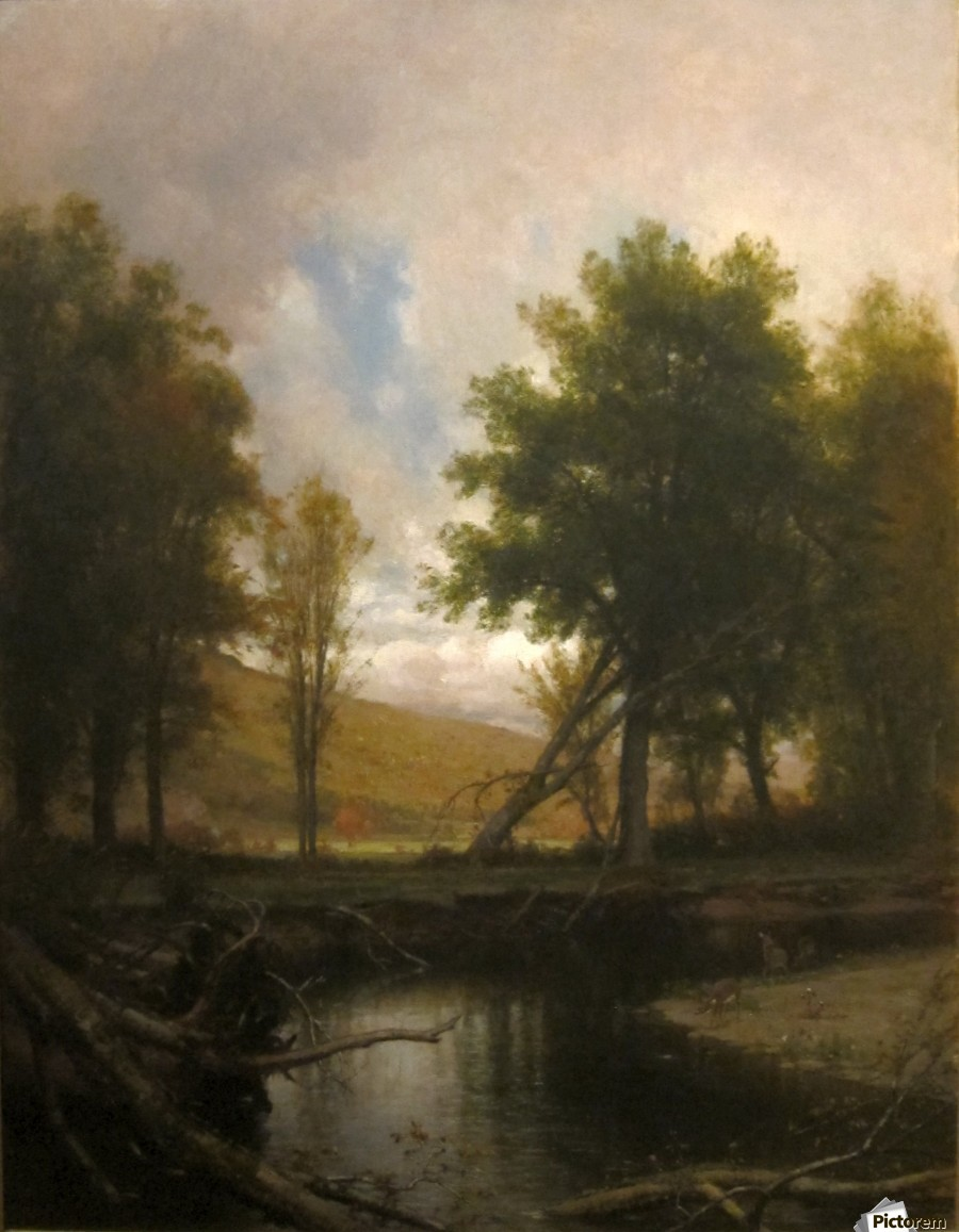 Landscape with Stream and Deer  Print