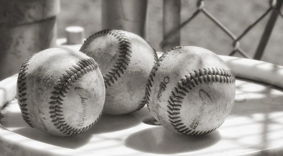 3 Baseballs on a Bucket in Sepia  Print