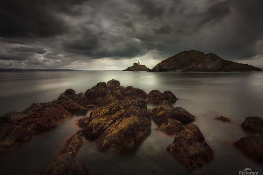 Storm clouds over Mumbles lighthouse  Print