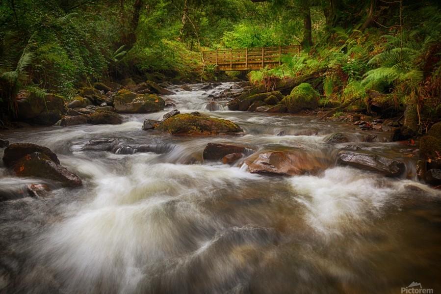 The wooden bridge over the river Melin  Print