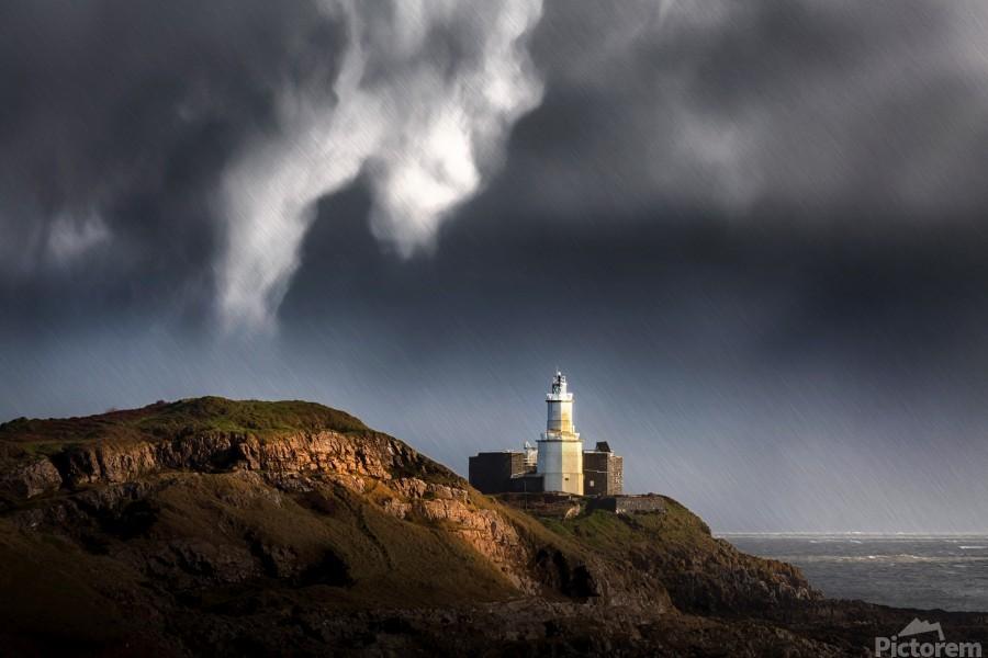 Mumbles lighthouse in the rain  Print