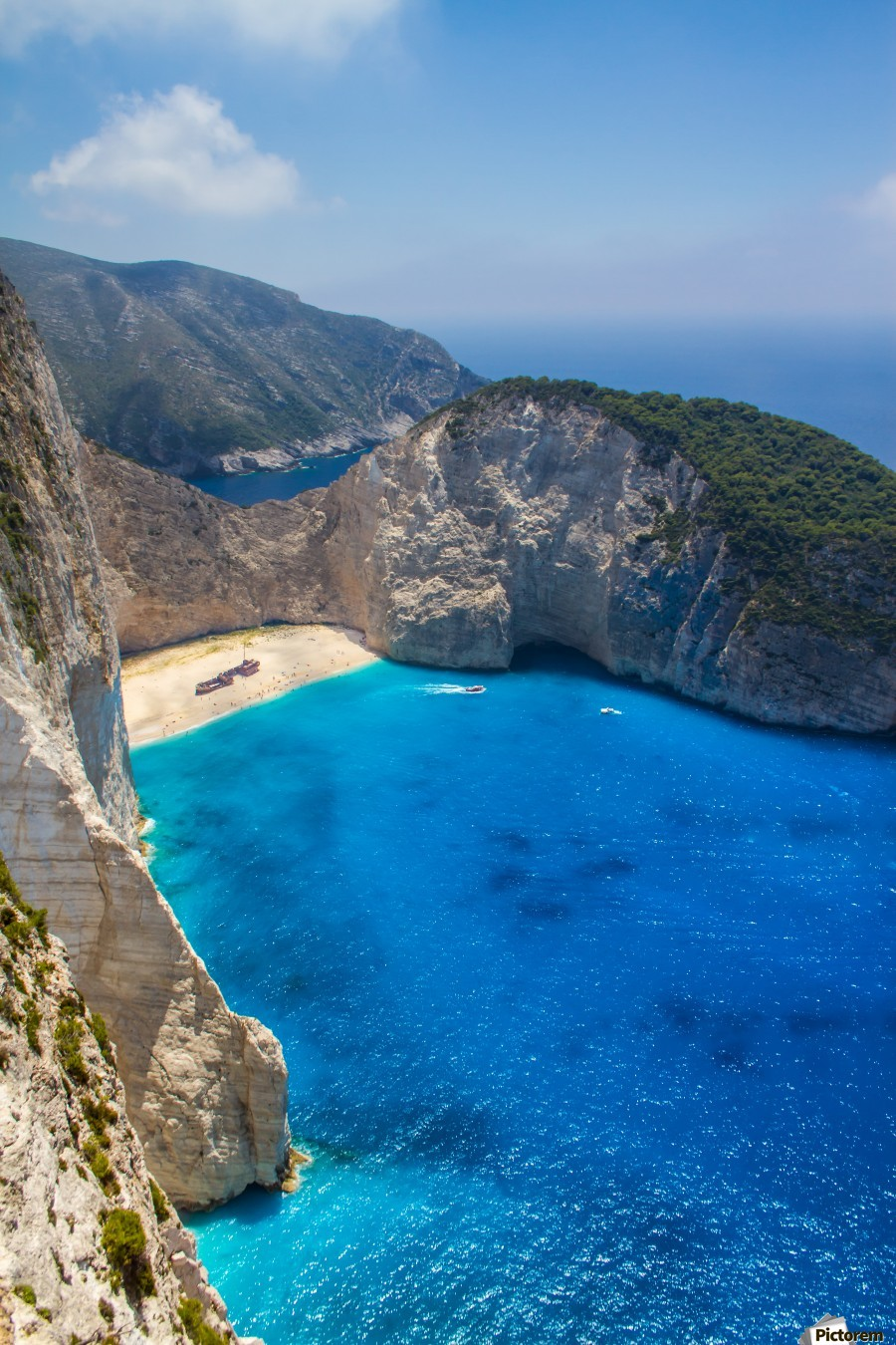 Navagio beach with shipwreck and flowers on Zakynthos island in Greece  Print