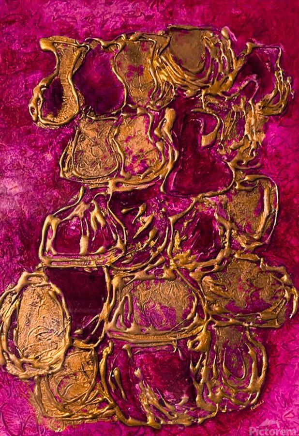 JARS - Original Abstract Acrylic Paint Printed on Canvas by: Rebecca Mangalindan  Print