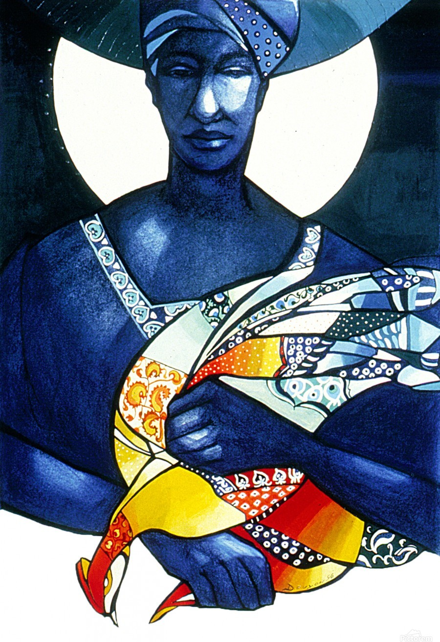 Blue Woman with a bird  Print