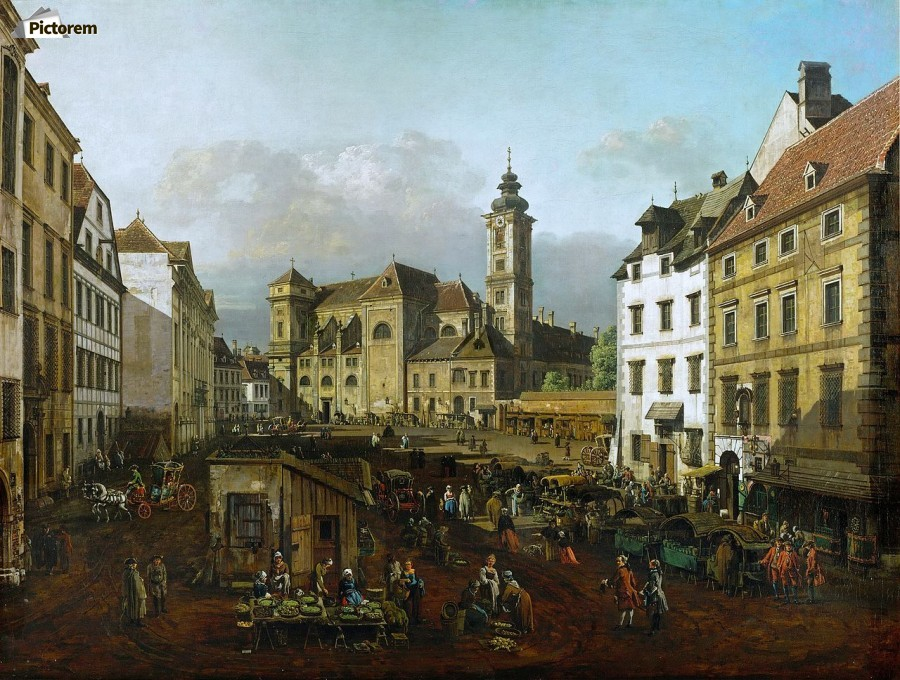 Market outside church  Print
