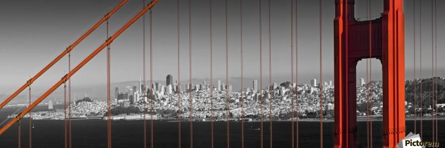Golden Gate Bridge Panoramic Downtown View  Print