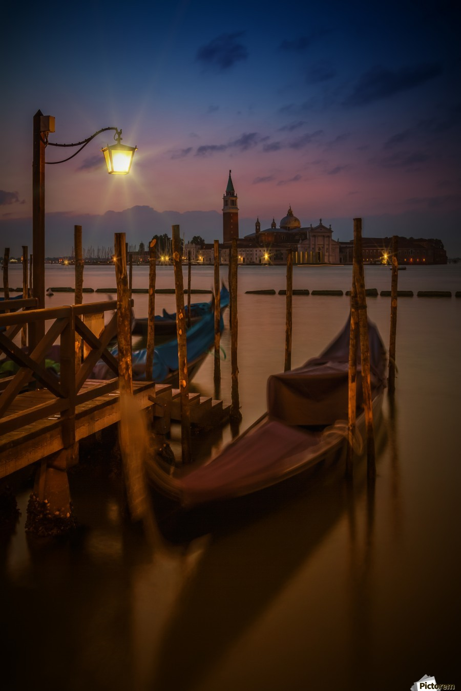 VENICE Gondolas during Blue Hour  Print