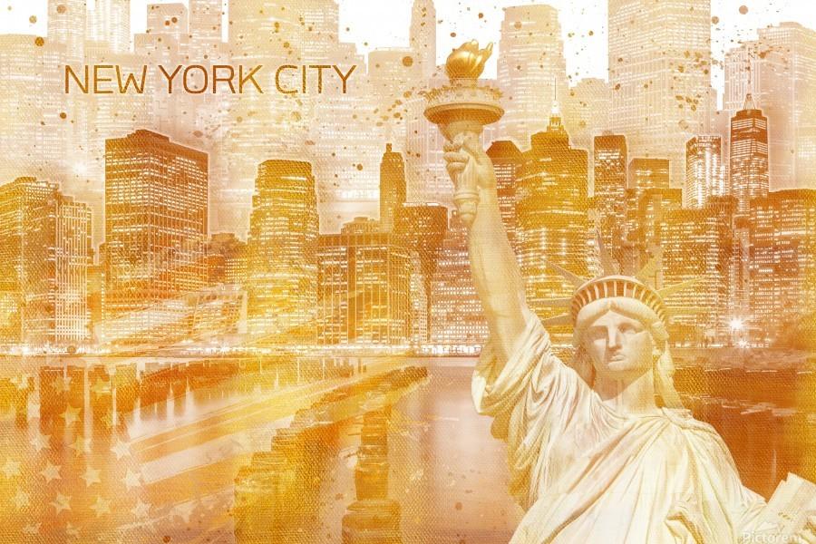Graphic Art MANHATTAN Collage | golden  Imprimer