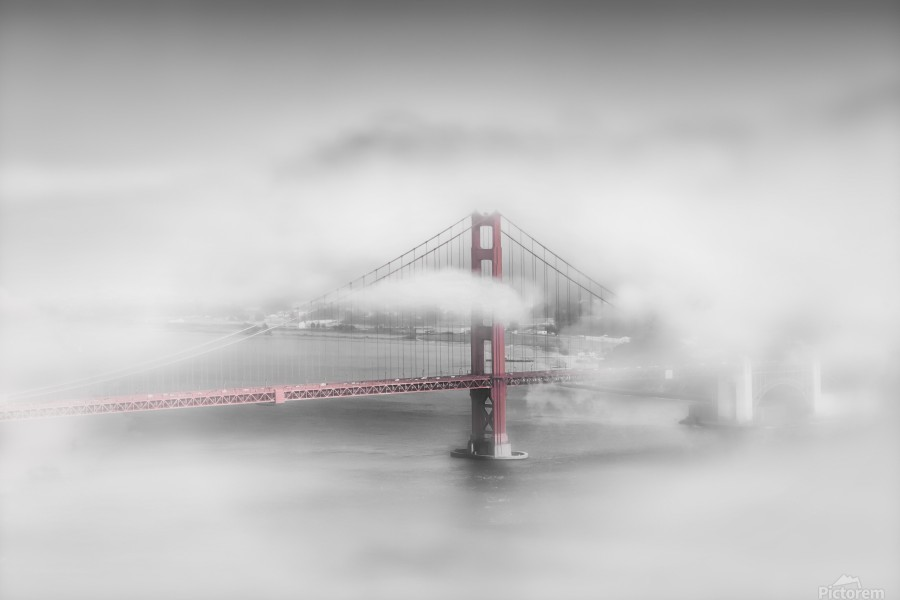 Foggy Golden Gate Bridge   colorkey  Print