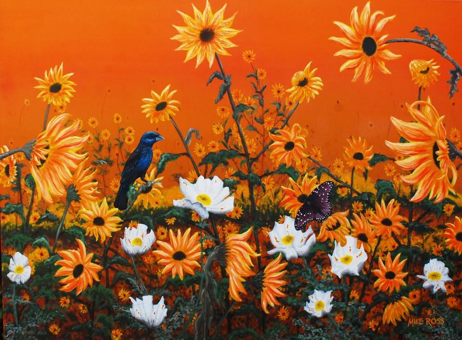 Sunflowers & Prickly Poppies  Print
