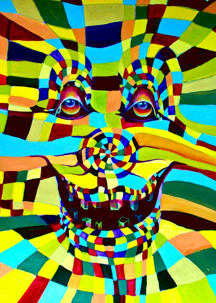 Watecolor Contermporary Pop Surrealism Clown   Print