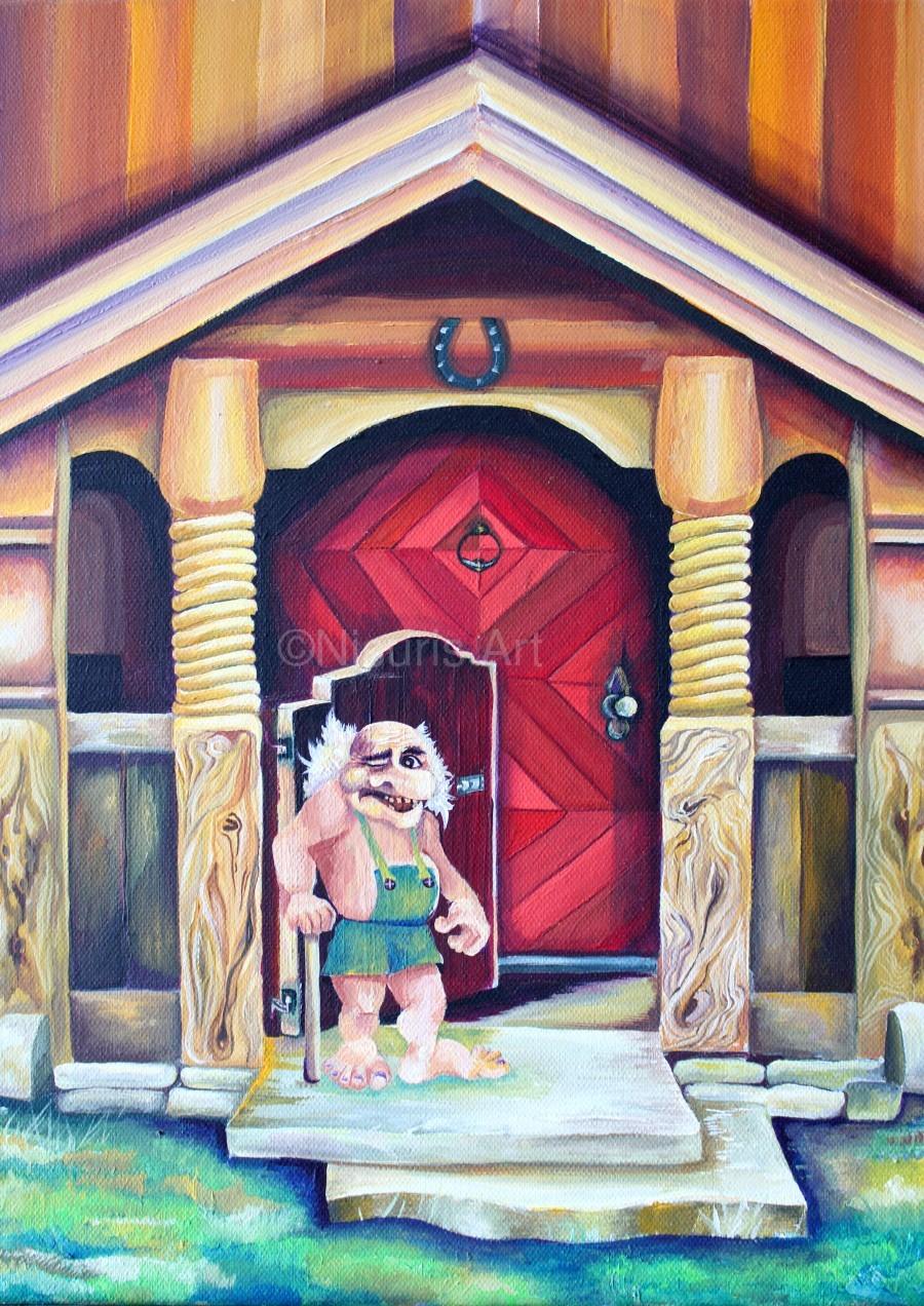 Scandinavian Folklore Troll Artwork   Print