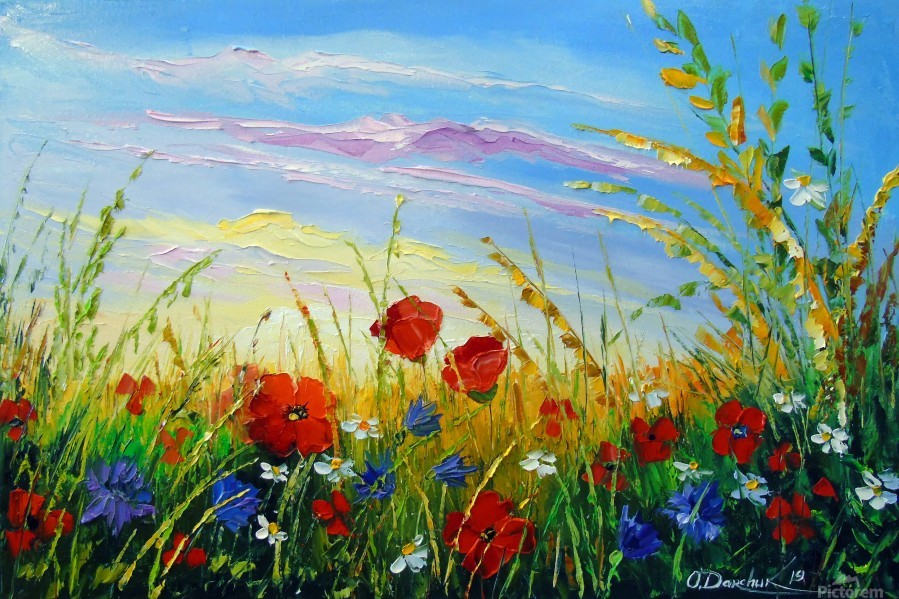 Summer flowers in the oil painting field  Print
