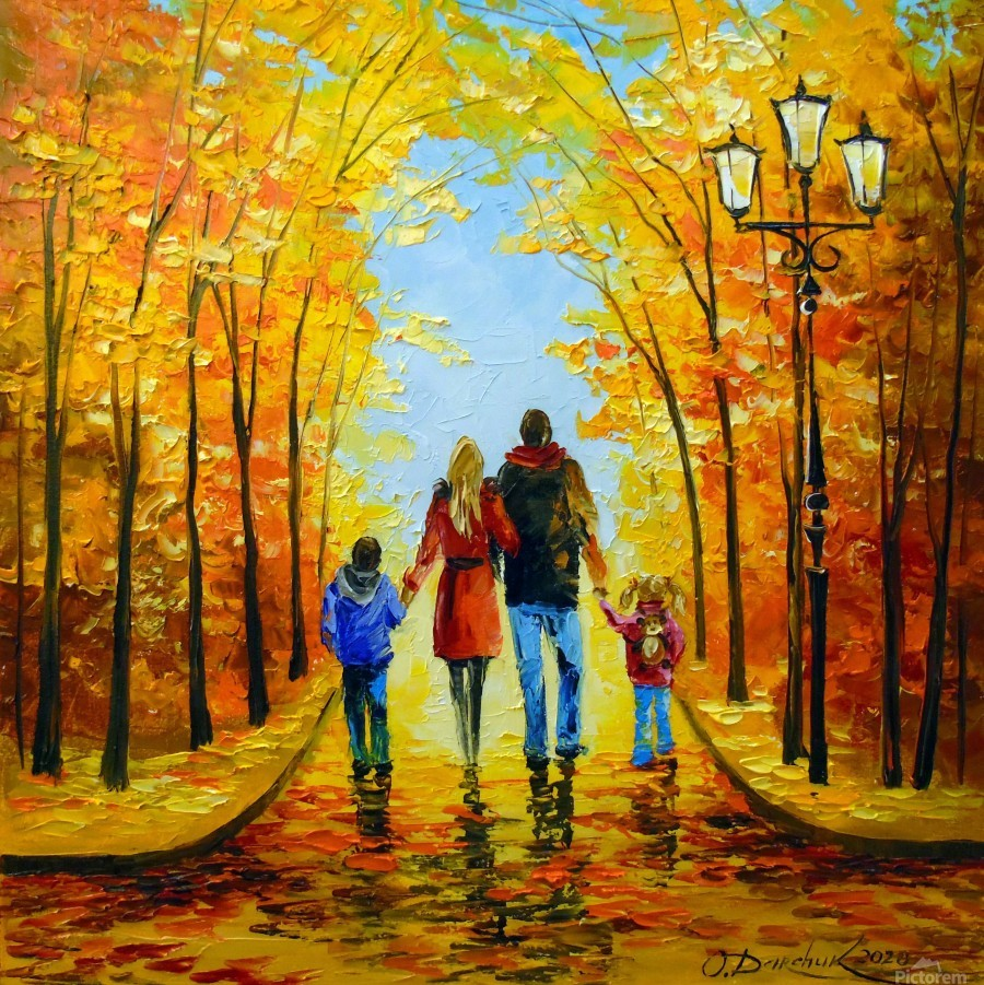Walk with the whole family in the autumn Park  Print