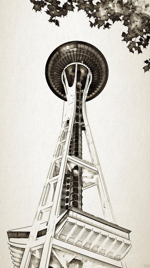 black white seattle space needle art  Print